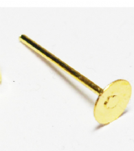 100 flat ear posts. Gold Plated 6mm diam.
